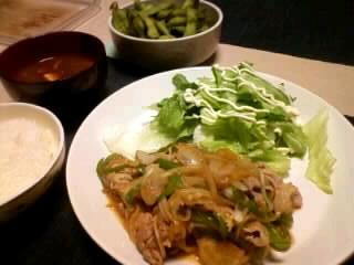 タマネギ・ピーマンたっぷり豚の生姜焼き