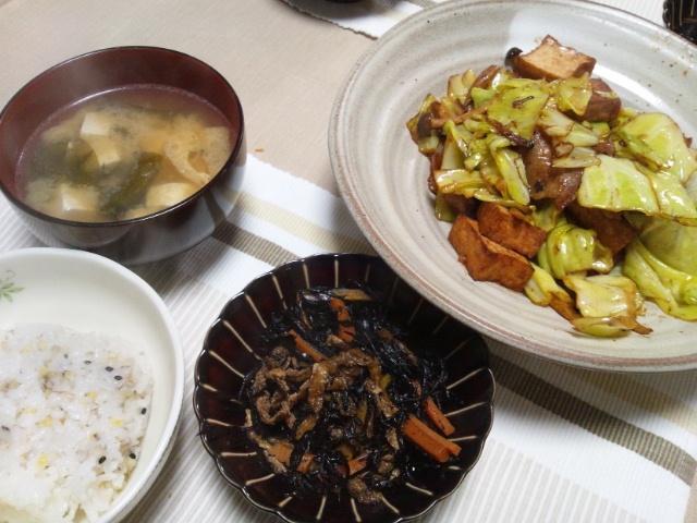 キャベツと豚バラと厚揚げの味噌炒め