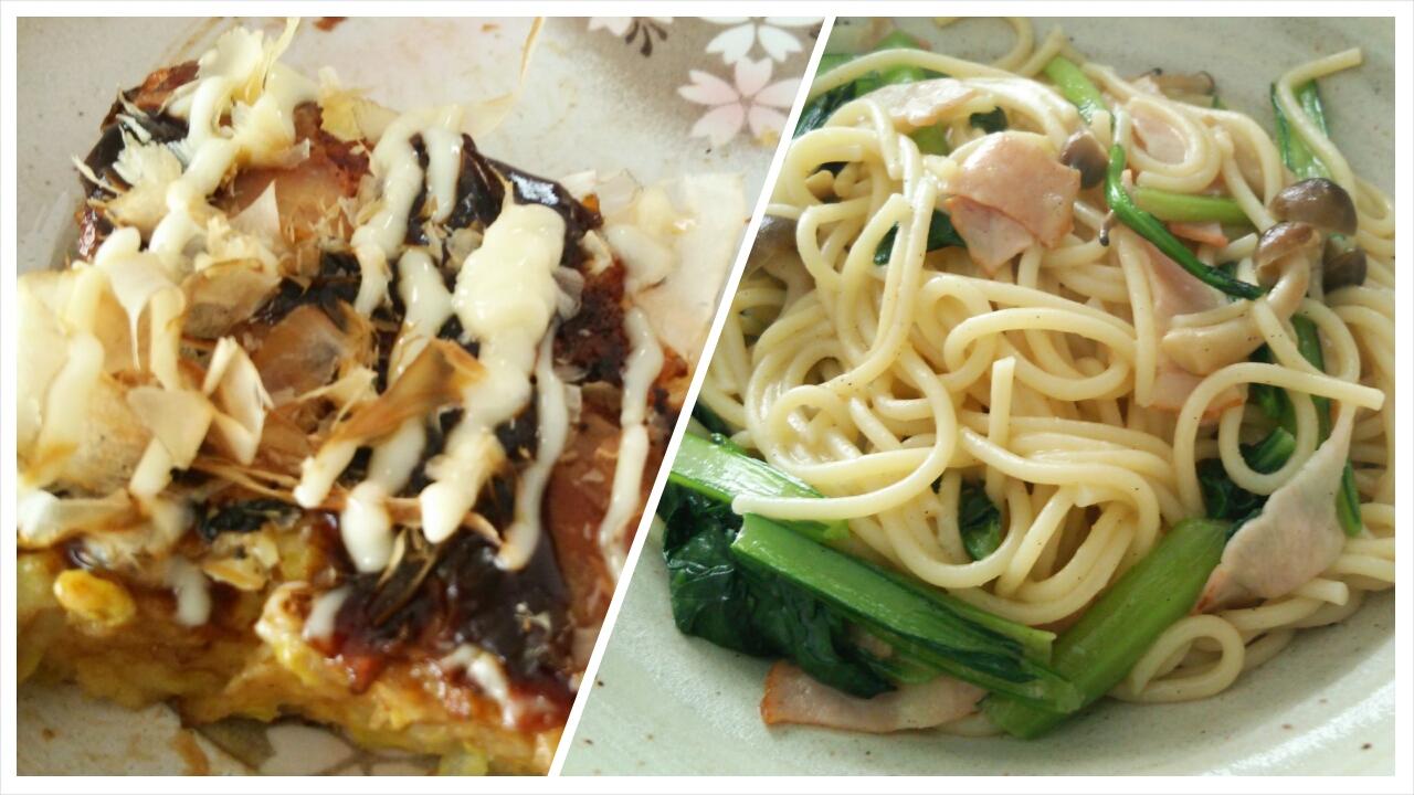 白菜でお好み焼き、青菜のペペロンチーノ