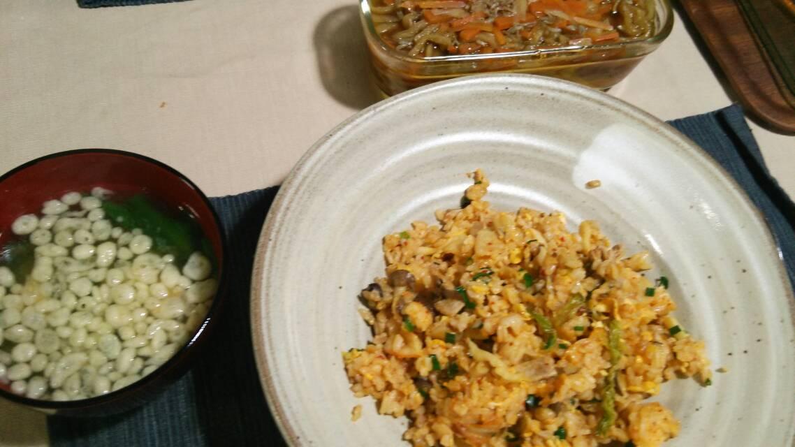 キムチチャーハン、鶏のソテー ネギクリームチーズ和え