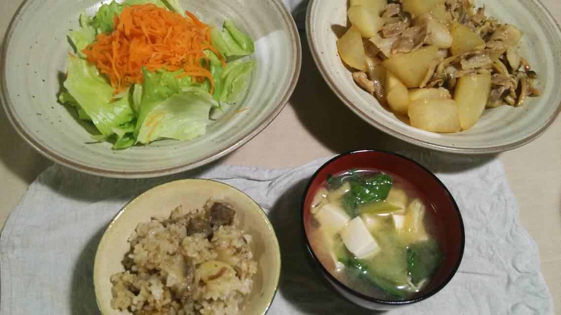 牛肉とじゃがいもの炊き込みご飯、鶏肉の醤油麹漬