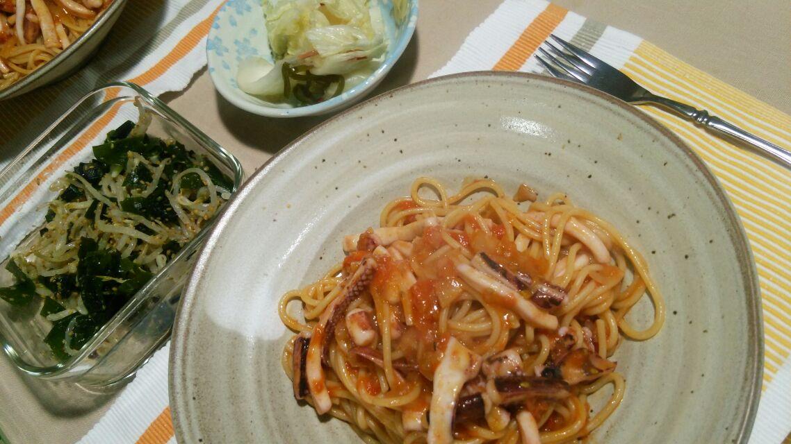 イカのトマトスパゲティを作ってみたが